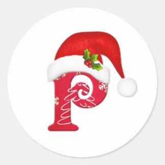 Letra P, pegatina del monograma del navidad del