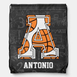 Letra personalizada A del baloncesto de la pizarra Mochila