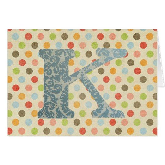 Letra personalizada K del arte Tarjeta De Felicitación