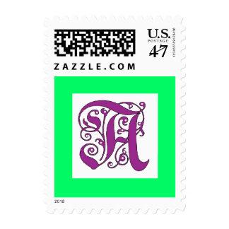 Letra púrpura del monograma adornado un sello
