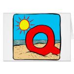 Letra Q de las ideas del boda de playa Felicitacion