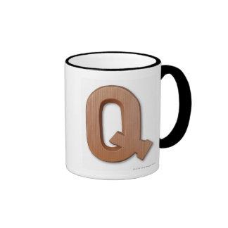 Letra q del chocolate taza de dos colores