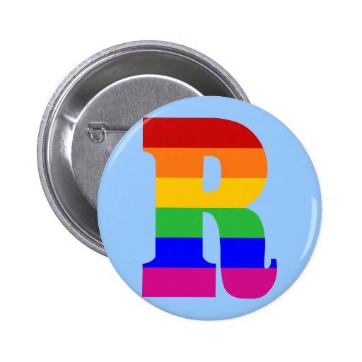 Letra R del arco iris Pin