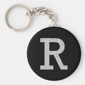 Letra R del monograma Llavero Redondo Tipo Pin