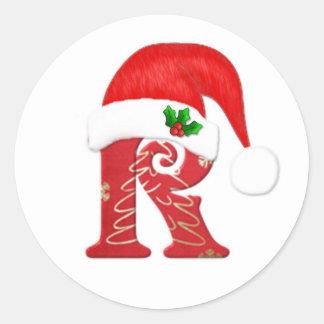 Letra R, navidad del monograma del gorra de Santa Pegatina Redonda