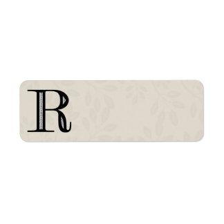 Letra R - negro del damasco Etiquetas De Remite