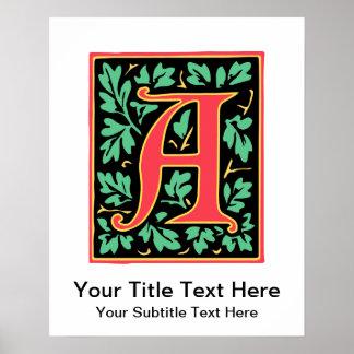 Letra roja medieval gótica un damasco del monogram póster