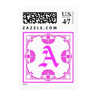 Letra rosada adornada del monograma un sello
