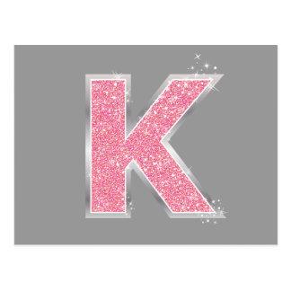 Letra rosada K del brillo Tarjeta Postal