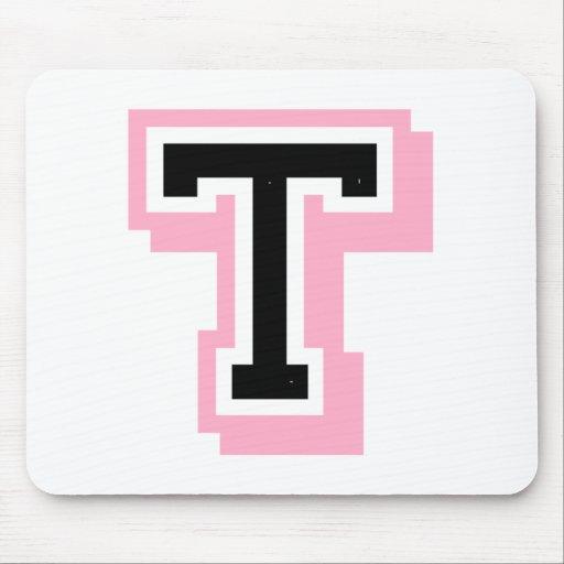 letra rosada negra T Tapete De Ratón