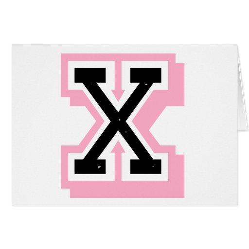 letra rosada negra X Tarjeton