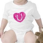 Letra rosada U del corazón de la inicial de la Traje De Bebé