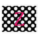 Letra rosada Z en lunares Postal