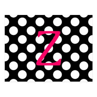 Letra rosada Z en lunares Tarjetas Postales