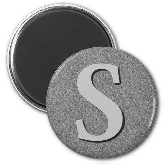 Letra S del monograma Imán Redondo 5 Cm