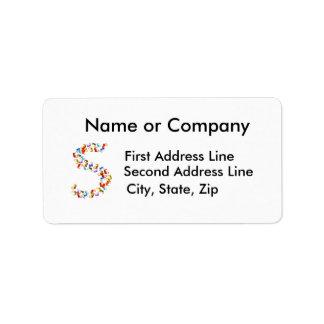 Letra S hecha fuera de gráficos coloridos del seah Etiqueta De Dirección