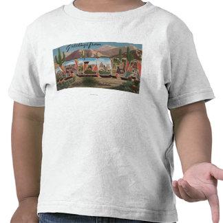 Letra ScenesArizona de ArizonaCactusLarge Camiseta