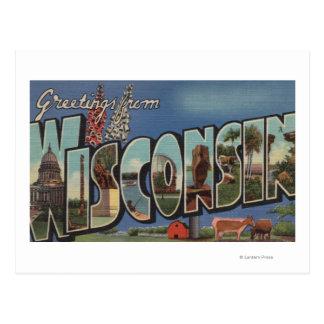 Letra ScenesWisconsin de WisconsinLarge Postales