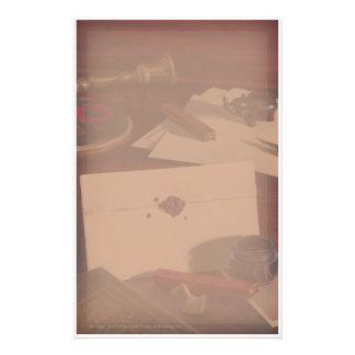 Letra sellada en los efectos de escritorio antiguo  papeleria de diseño