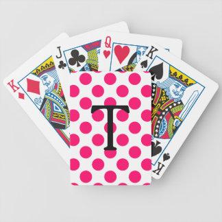 Letra T con los lunares rosados Cartas De Juego