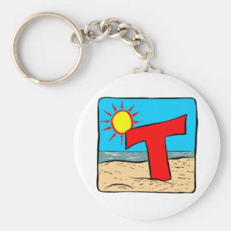 Letra T de las ideas del boda de playa Llavero Redondo Tipo Pin
