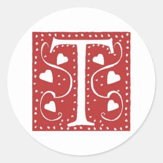 Letra T de los corazones del boda Pegatina Redonda