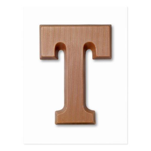 letra T del chocolate Postal