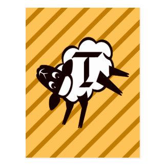 Letra T del monograma de las ovejas Postal