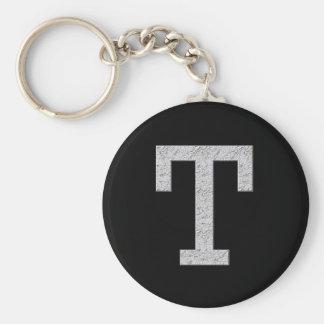 Letra T del monograma Llavero Redondo Tipo Pin