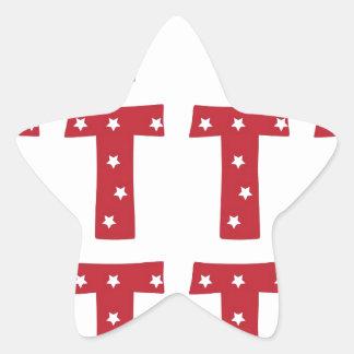 Letra T - Estrellas del blanco en rojo oscuro Pegatina En Forma De Estrella