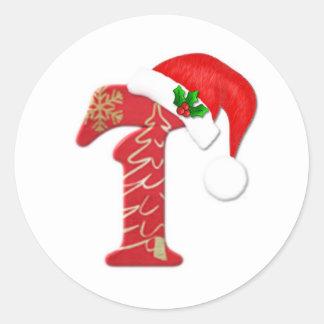 Letra T, navidad del monograma del gorra de Santa Pegatina Redonda