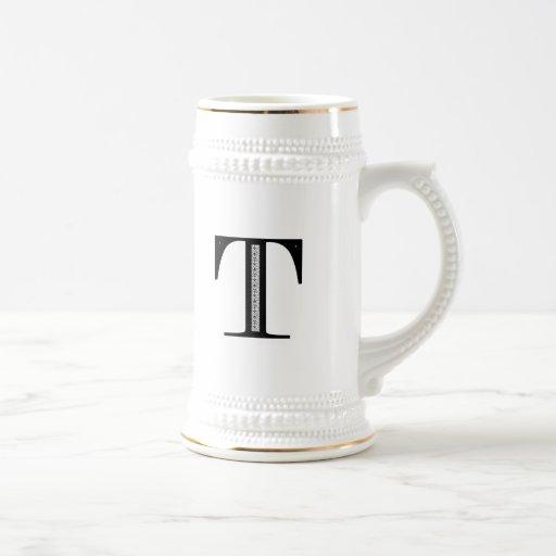 Letra T - negro del damasco Taza De Café