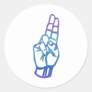 Letra U del alfabeto del ASL Pegatina Redonda
