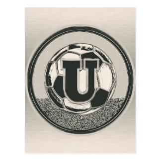 Letra U del monograma del fútbol del medallista de Tarjeta Postal