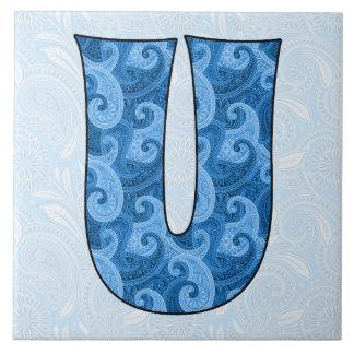 Letra U - Paisley azul con monograma teja de 6 pul