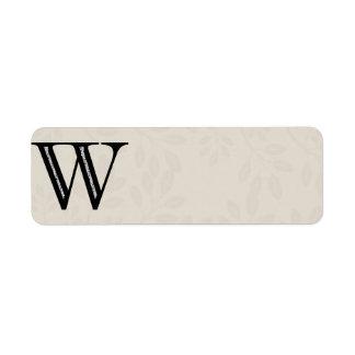 Letra W - negro del damasco Etiqueta De Remite