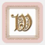 Letra W - Sello formal clásico del oro y del boda Calcomanías Cuadradass Personalizadas