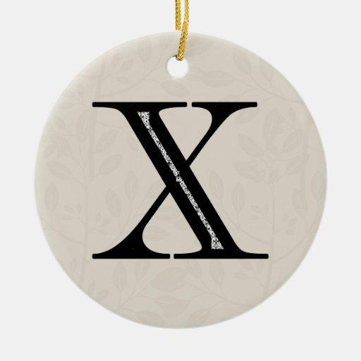 Letra X del damasco - negro Adorno Navideño Redondo De Cerámica