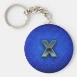 Letra X - edición azul de neón Llaveros