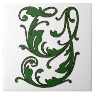 Letra Y de la hoja en teja verde del monograma