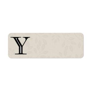 Letra Y - negro del damasco
