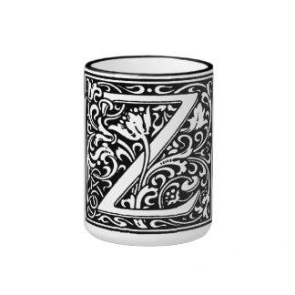 Letra Z del alfabeto del estilo del renacimiento Taza De Dos Colores