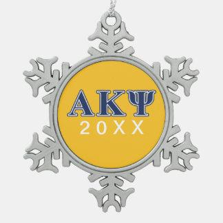 Letras alfa de la marina de guerra de Kappa PSI Adorno De Peltre En Forma De Copo De Nieve