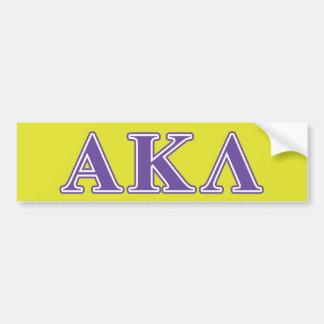 Letras alfa de la púrpura de la lambda de Kappa Pegatina De Parachoque
