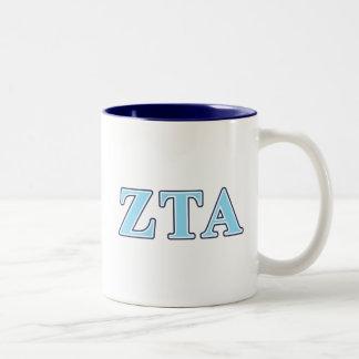Letras alfa de los azules marinos y de los azules taza dos tonos