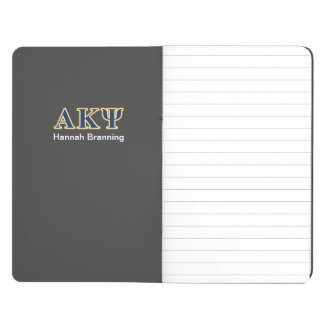 Letras alfa del amarillo y de la marina de guerra cuaderno