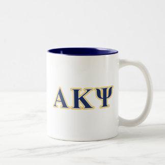 Letras alfa del amarillo y de la marina de guerra taza de café de dos colores