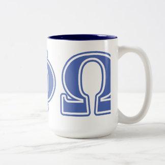 Letras alfa del azul de Omega de la phi Taza De Café De Dos Colores