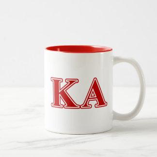 Letras alfa del rojo de la orden de Kappa Taza De Dos Tonos