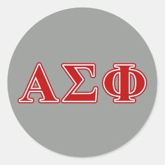 Letras alfa del rojo de la phi de la sigma etiqueta redonda